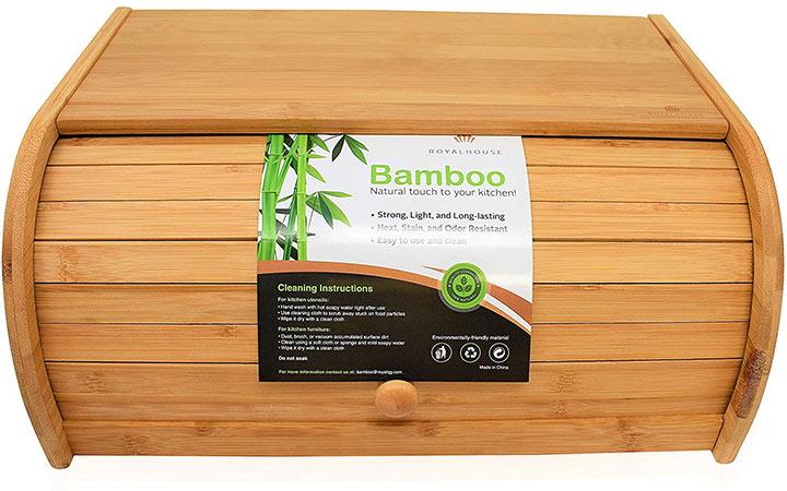 RoyalHouse Natural Bamboo Roll Top Bread Box