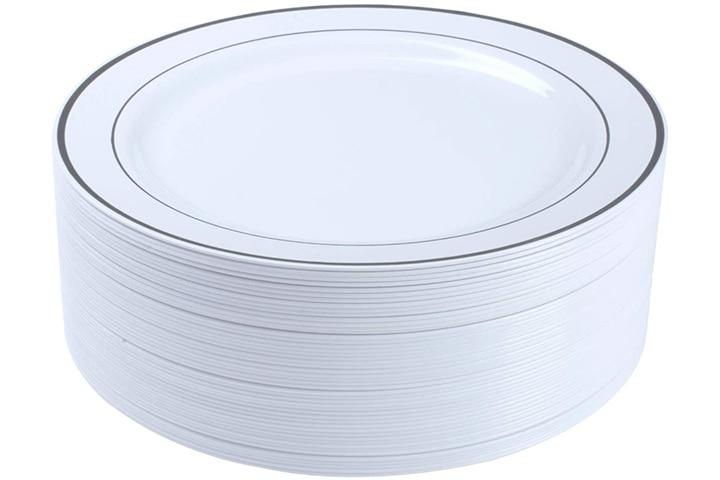 Select Settings Silver Rim Plastic Dinner Plates
