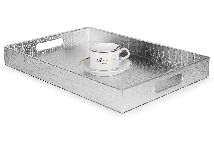 Silver Rectangle Glossy Serving Tray by Home Redefined