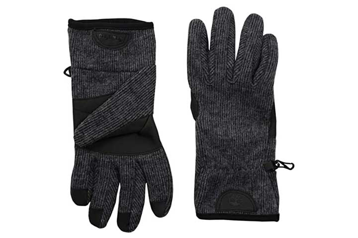 Timberland Mens Ribbed-Knit Wool-Blend Glove