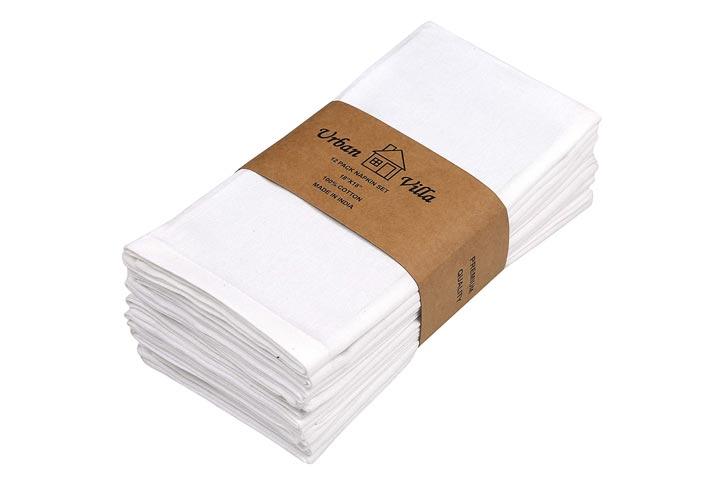 Urban Villa White Casement Weave Ultra Soft Premium Quality Dinner Napkins