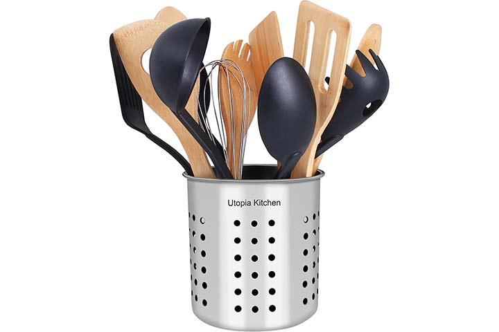 Utopia Kitchen Stainless Steel Cooking Utensil Holder