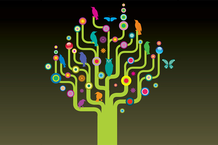 Vector style family tree