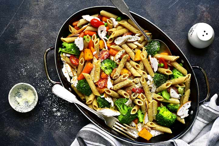 Veg loaded whole-grain pasta