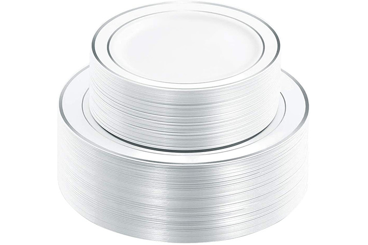 WDF Disposable Plastic Plates with Silver Rim