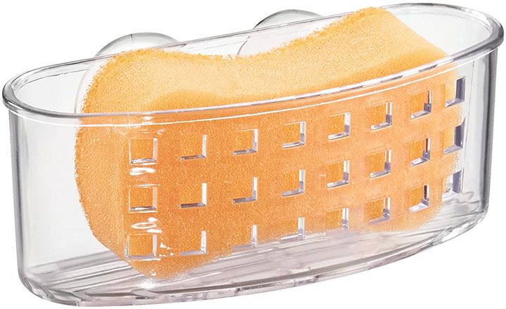 iDesign Kitchen Sink Suction Holder for Sponges, Scrubbers, Soap