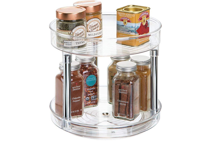 mDesign 2 Tier Lazy Susan Turntable Food Storage Container for Cabinets