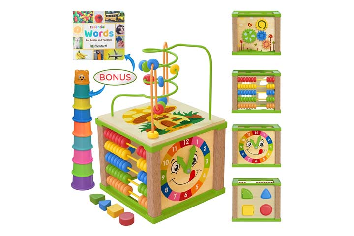 oyventive Wooden Kids Activity Cube