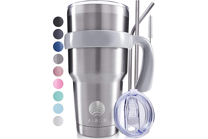 Albor 30 Oz Stainless Steel Insulated Tumbler With Straw