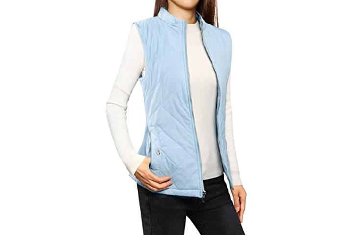 Allegra K Women's Stand Collar Vest