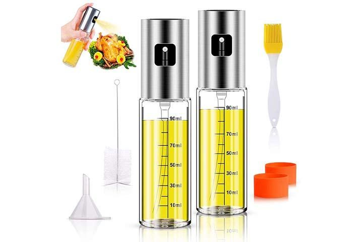 Anmyox Olive Oil Sprayer Set, 100ml 5 IN 1 Oil Dispenser Glass Bottle