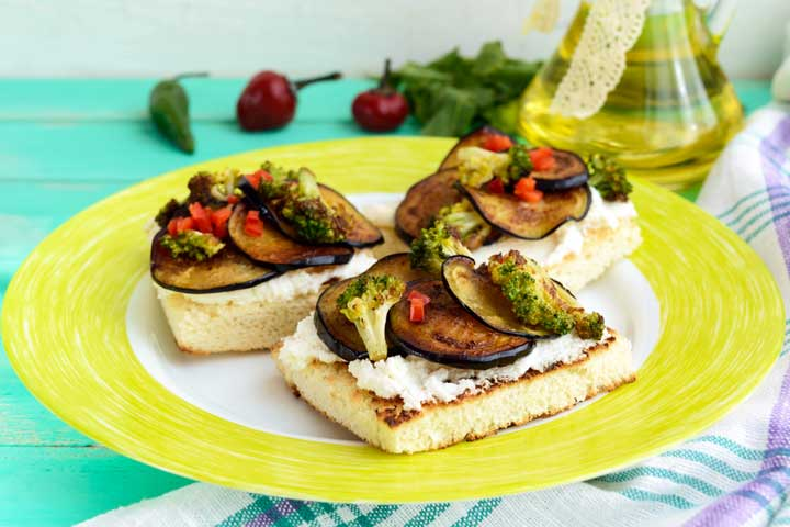 Broccoli and eggplant bruschetta