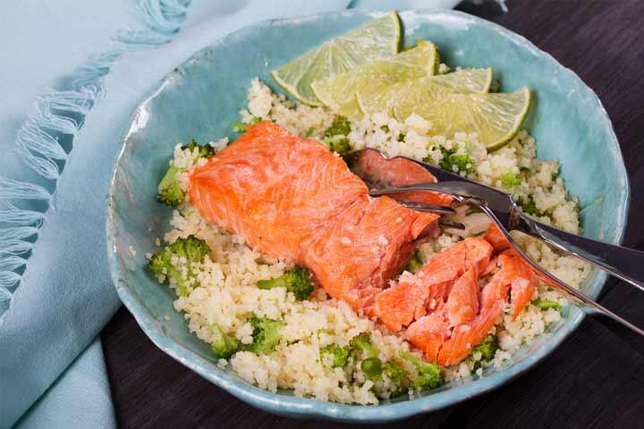 Chili garlic broccoli and salmon bowl