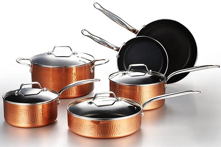 Cooksmark Hammered Copper Cookware Set