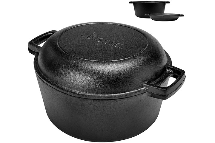Cuisinel Pre-Seasoned Cast Iron Skillet And Double Dutch Oven