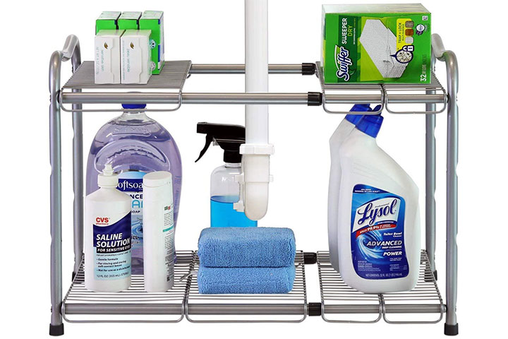 DecoBros Under-Sink 2 Tier Expandable Shelf