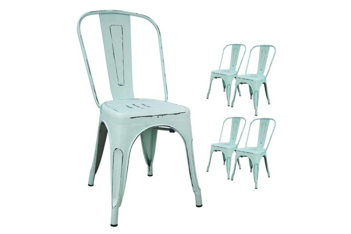 Devoko Metal Indoor-Outdoor Chairs Distressed Style Kitchen Dining Chairs
