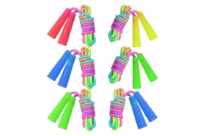 Elcoho 6 Pack Rainbow Jump Rope Set