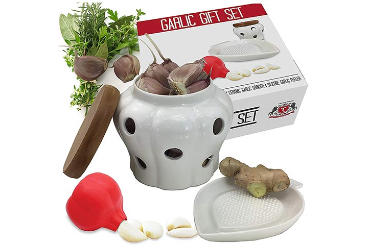 Elite Luncheon Garlic Keeper Container Set