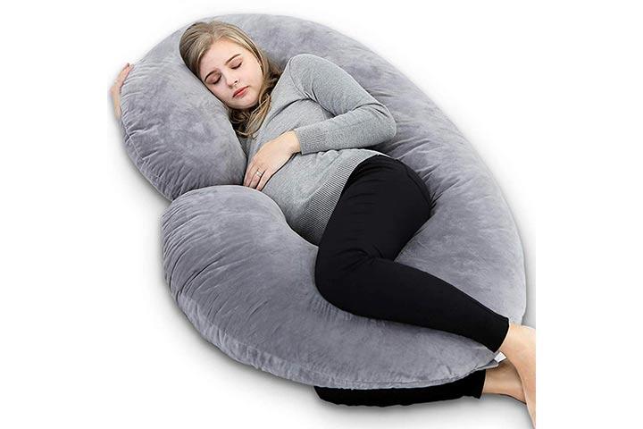 Kuber Industries Cotton Ultra Soft Hollow Fibre C Shaped Maternity Pillow