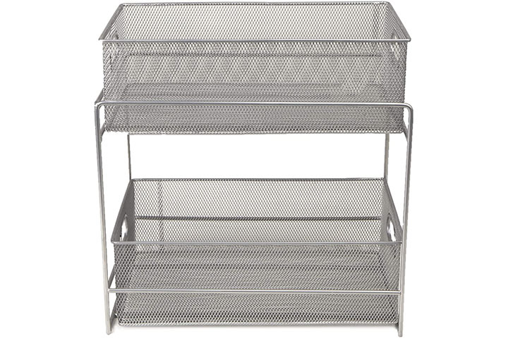 Mind Reader 2 Tier Metal Mesh Storage Baskets