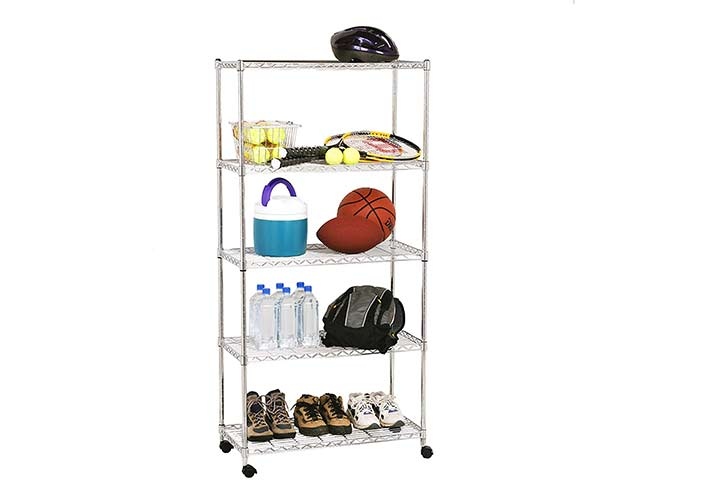 Seville Classics 5-Tier Steel Wire Shelving with Wheels