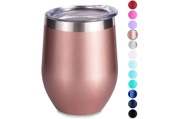 Sunwill Insulated Wine Tumbler with Lid Rose Gold