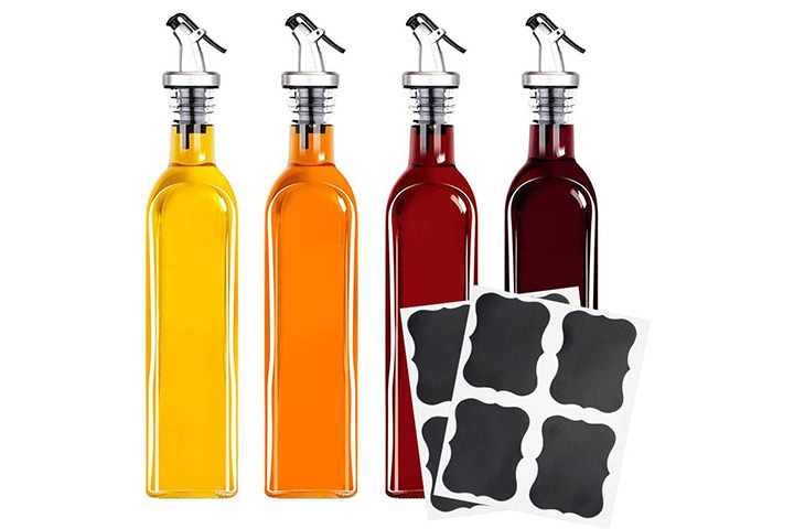 Tebery 4 Pack Oil And Vinegar Cruet Glass Bottles With Dispensers