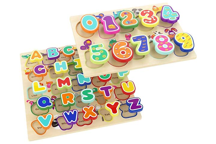 Top Bright Wooden Puzzles Alphabet Education Toys
