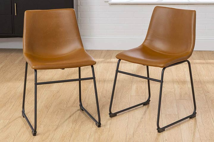 Walker Edison Furniture Company Industrial Faux Leather Kitchen Chair