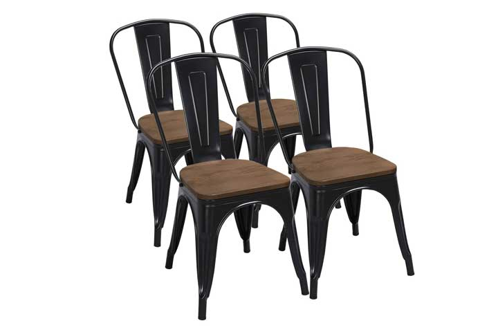 Yaheetech 18 Inch Classic Iron Metal Dining Chair With Wood Top