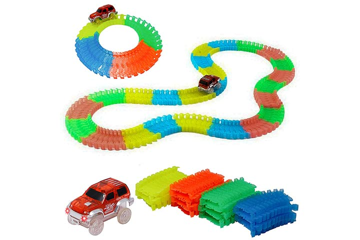 Zest 4 Toys 120 PCS Flexible, Bendable and Glow Racetrack with 1 car