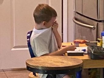 Photo Of 5-Year-Old Crying Over Distance Learning Goes Viral