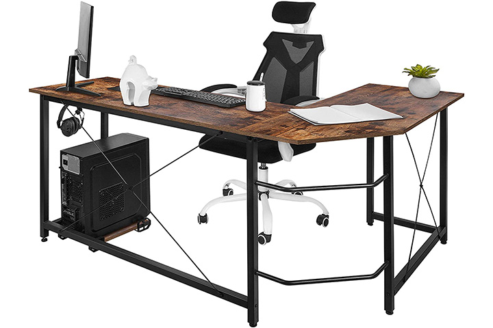 AuAg Modern L-Shaped Home Office Desk