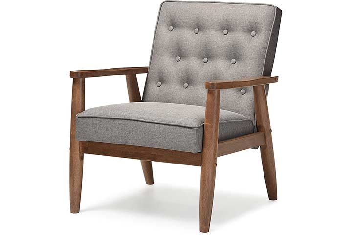 Baxton Studio Upholstered Wooden Lounge Chair