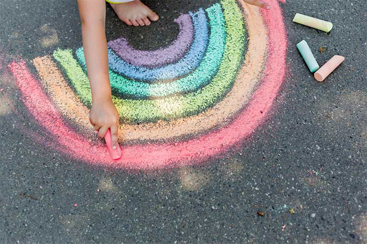 Chalk and water painting