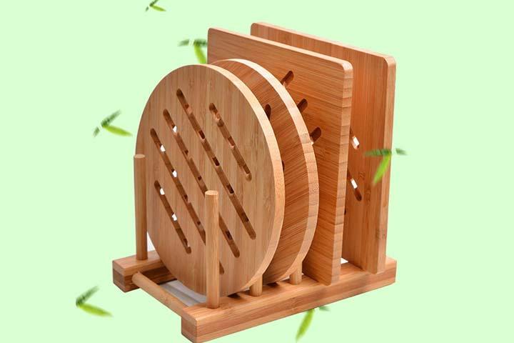 Garkup Natural Bamboo Trivet Mat Set