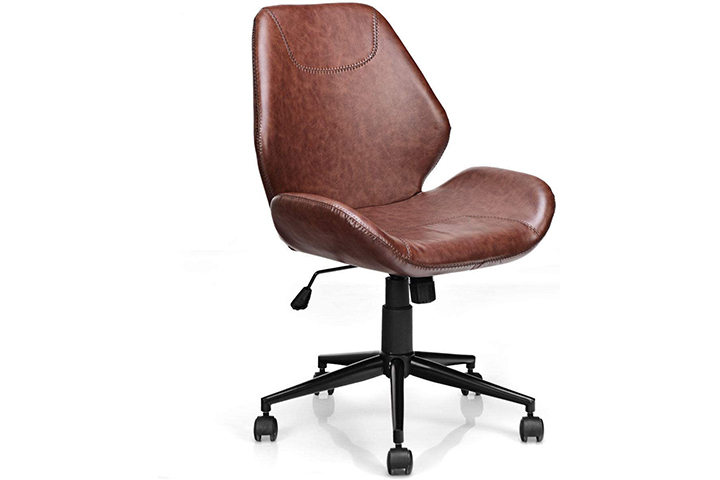 Giantex Home Office Mid-Back PU Leather Armless Chair