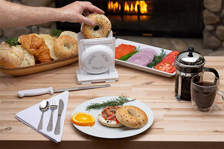 Halve YourBagel's Pro Safe Bagel And Bread Slicer