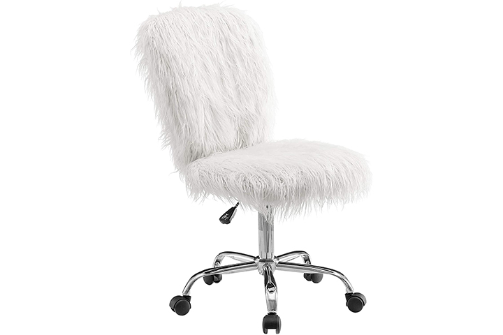 Linon Cora Faux Flokati Armless Office Chair