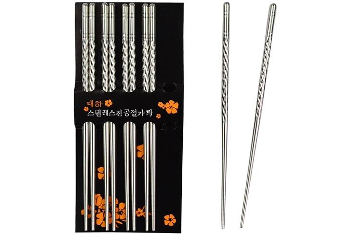 Rbenxia Stainless Steel Spiral Chopsticks