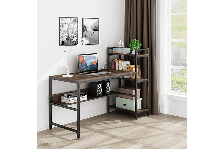 Roguoo Tower Computer Desk With Shelves