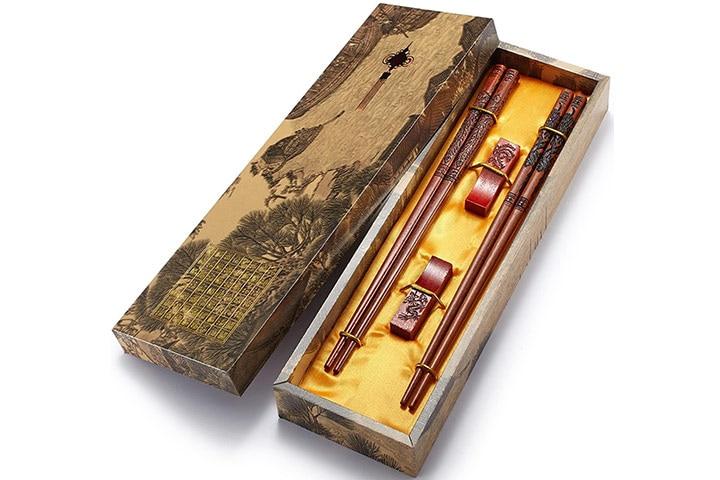 Zomchain Reusable Chinese Dragon and Phoenix Chopsticks