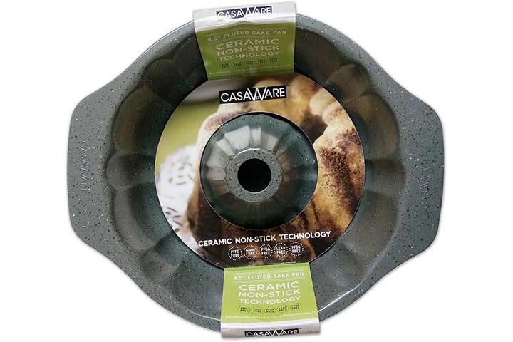 casaWare Fluted Cake Pan - Silver Granite
