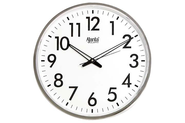 Ajanta Quartz Wall Clock – Silver