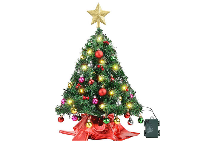 Amagoing Small Artificial Mini Tabletop Christmas Tree