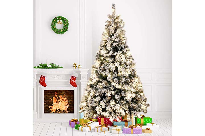 Amzdeal Snow Flocked Pre-Lit Christmas Tree