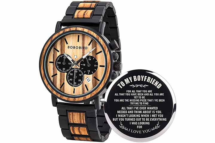 BOBO BIRD Men's Personalized Engraved Wooden Watches