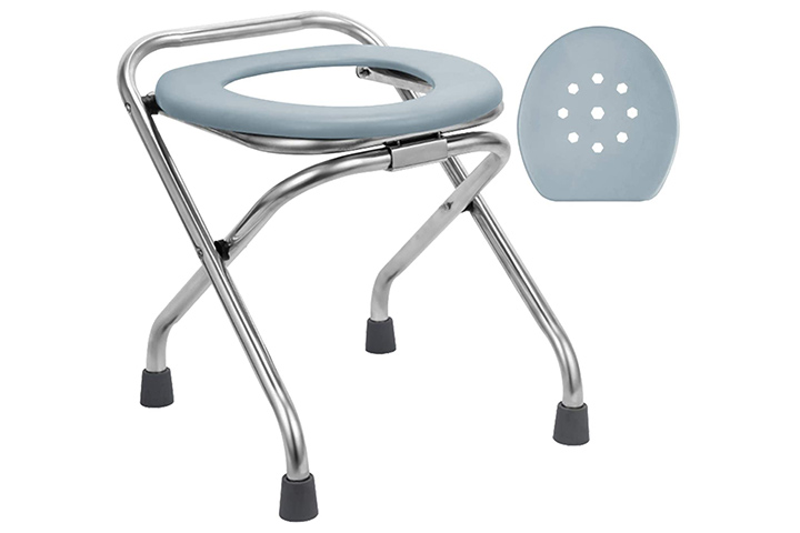 Blika 16.5in High Stainless Steel Folding Portable Toilet Seat
