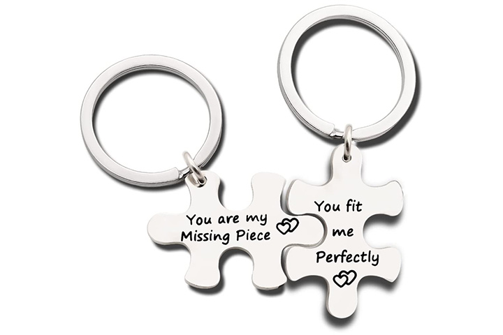 Couples Silver Keychain